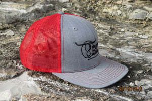 Heather Grey/Red Center Full Logo Cap
