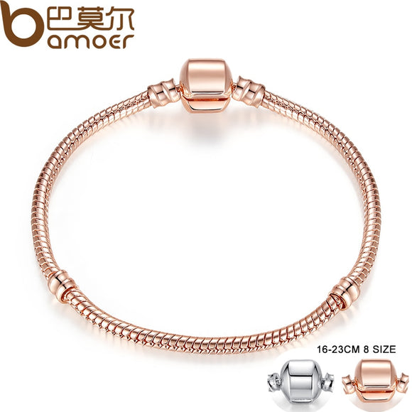 BAMOER Rose Gold Color & Silver Bracelets