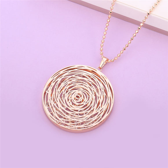 Rose Gold Hollow Pendant Necklace
