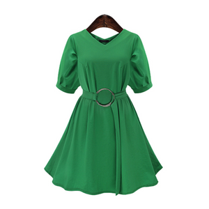 V-Neck Flounce Sleeve Dress