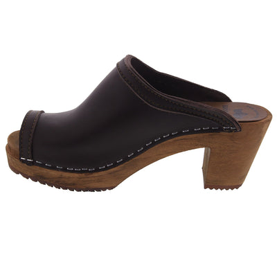 THALIA Swedish Wood Peep Toe Clogs in Brown Veg-Tan Leather