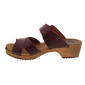 ALICE Swedish Wood Open Back Clog Sandals in Bordeaux Cabrio Leather