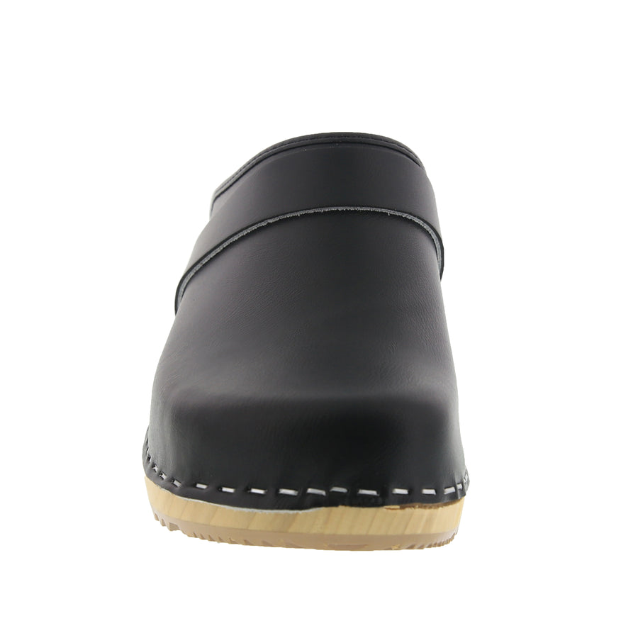 MAJA Wood Open Back Leather Clogs