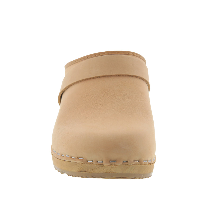 Maja Wood Open Back Oiled Leather Clogs