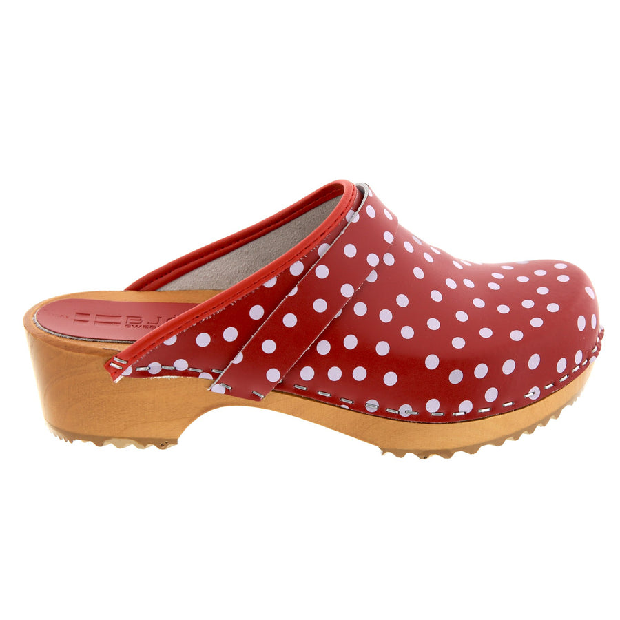 Emma Wood Open Back Polka Dots Leather Clogs
