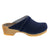 KAIA Swedish Low Heel Wooden Clog Mules in Denim Leather