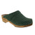 KAIA Swedish Low Heel Wooden Clog Mules in Forest Nubuck