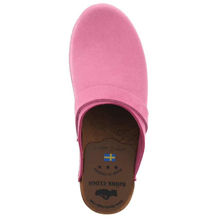 KAIA Swedish Low Heel Wooden Clog Mules in Pink Nubuck