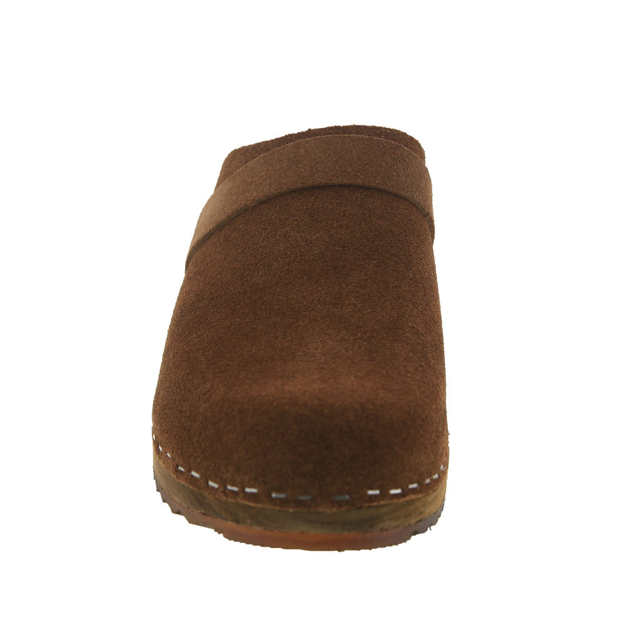 KAIA Swedish Low Heel Wooden Clog Mules in Brown Suede