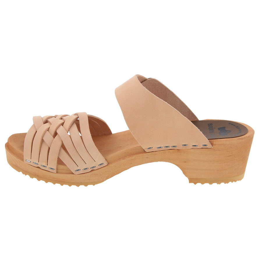ASTA Swedish Wood Open Back Slip-On Clog Sandals in Veg-Tan Leather