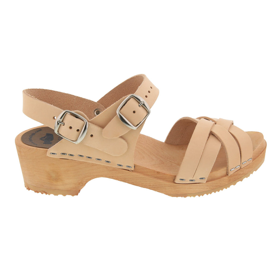MOLLY Swedish Wood Adjustable Clog Sandals in Natural Veg-Tan Leather