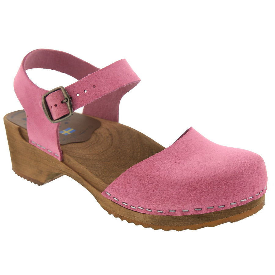 ALMA Swedish Wood Clog Sandals in Pink Nubuck
