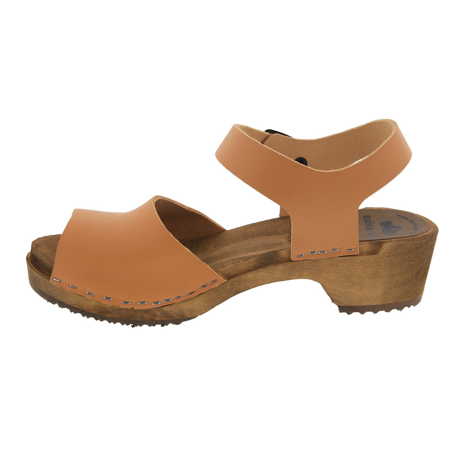 SAGA Swedish Wood Peep-Toe Adjustable Clog Sandals in Cognac Veg-Tan Leather