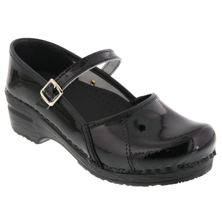 MARCELLA Mary Jane Black Patent Leather Clogs