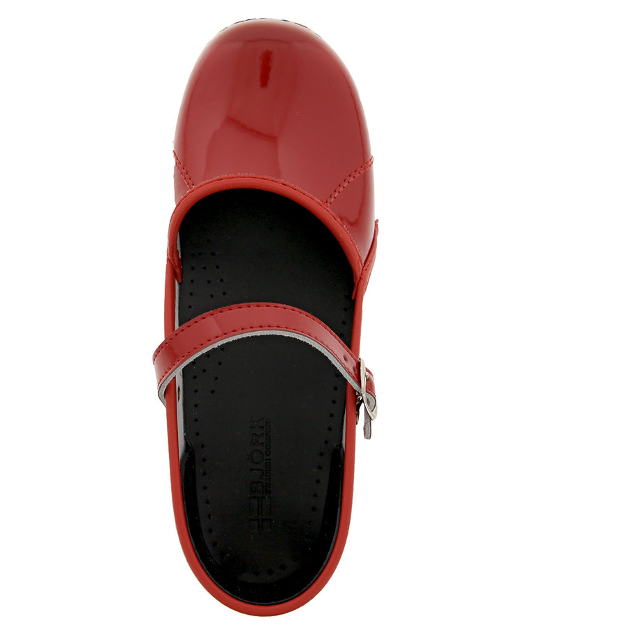 MARCELLA Mary Jane Red Patent Leather Clogs
