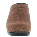 FLORA Carved Open Back Leather Clogs