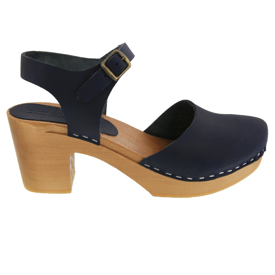 MARGARETA Swedish Wood Clog Sandals in Oiled Leather
