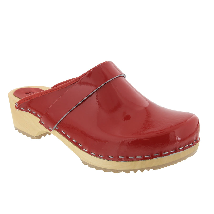 LEIA Wood Classic Open Back Patent Leather Clogs