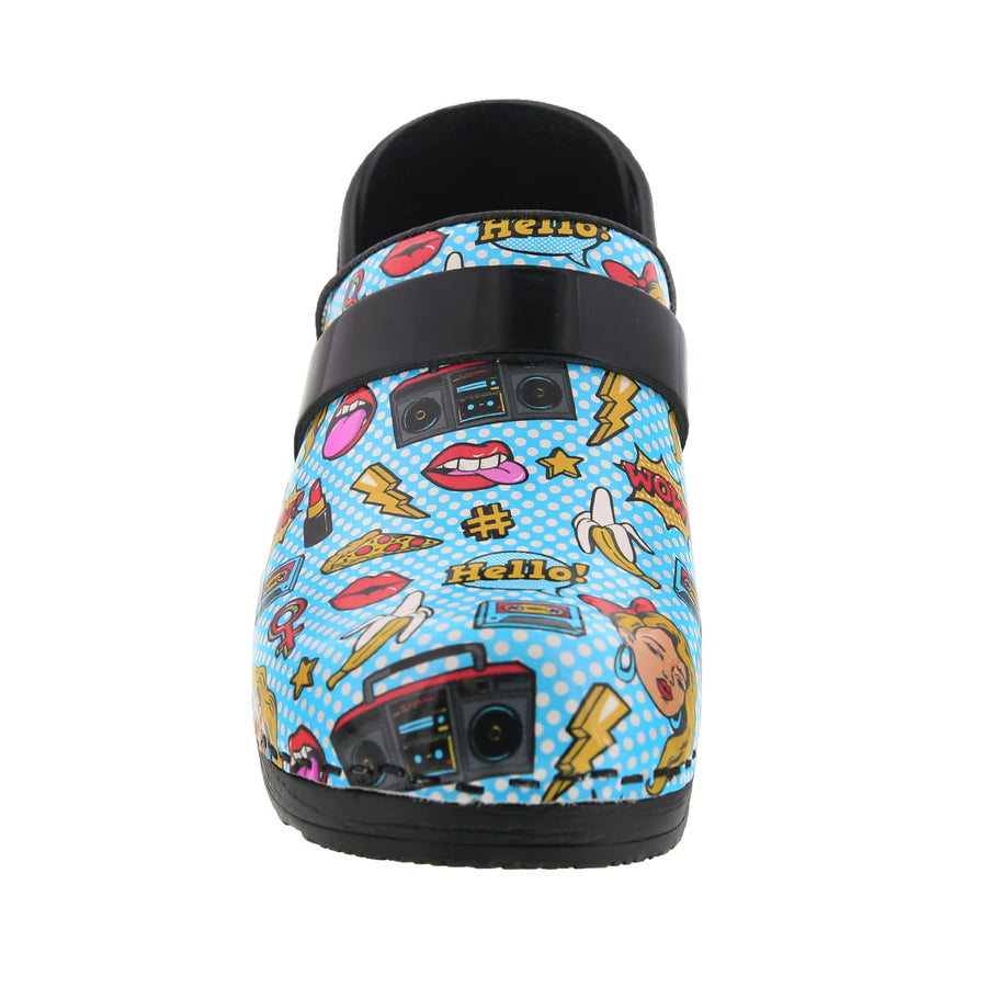 PROFESSIONAL Andie Pop Art Leather Clogs