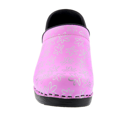 PROFESSIONAL Silver Flower Leather Clogs