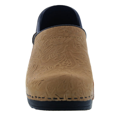 PROFESSIONAL FLORA Carved Leather Clogs