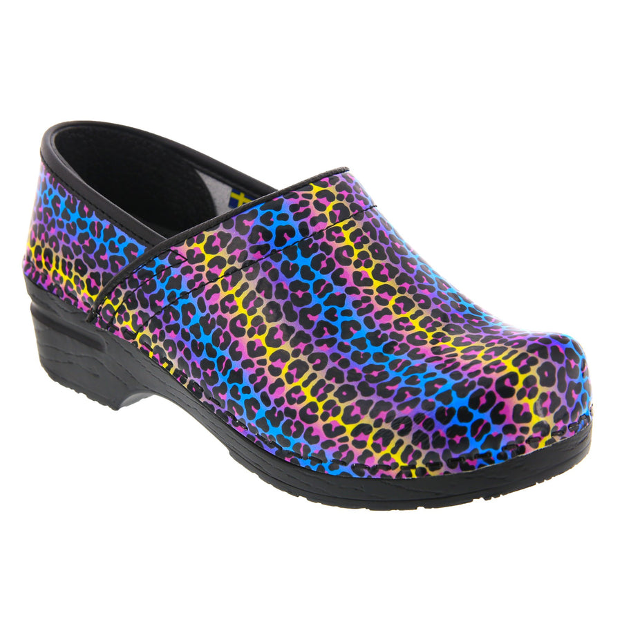 PROFESSIONAL Cheetah Leather Clogs
