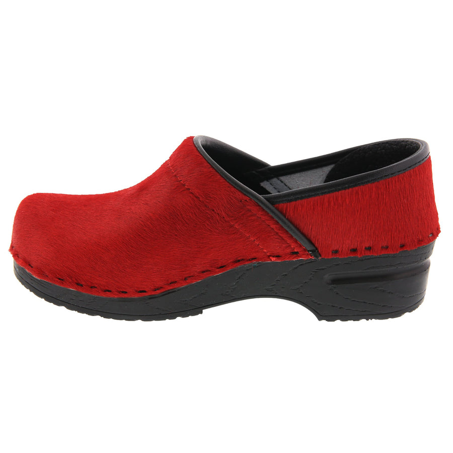 PROFESSIONAL Red Fur Leather Clogs