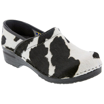 PROFESSIONAL Safari Collection Leather Clogs in Black and White Cow