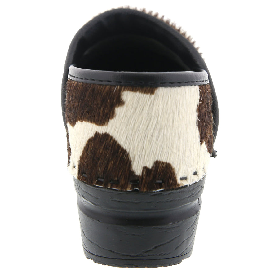 PROFESSIONAL Safari Collection Leather Clogs in Brown and White Cow