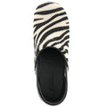 PROFESSIONAL Safari Leather and Fur Clogs in Zebra Print