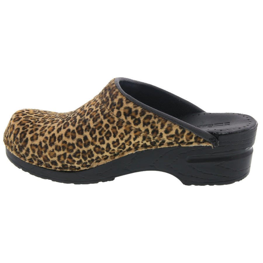 Safari Collection Leather Open Back Clogs in Leopard
