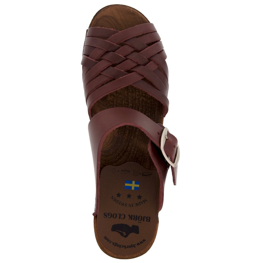 AGDA Swedish Wood Open Back Clog Sandals in Bordeaux Cabrio Leather
