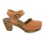 MARGARETA Swedish Wood Clog Sandals in Cognac Veg-Tan Leather