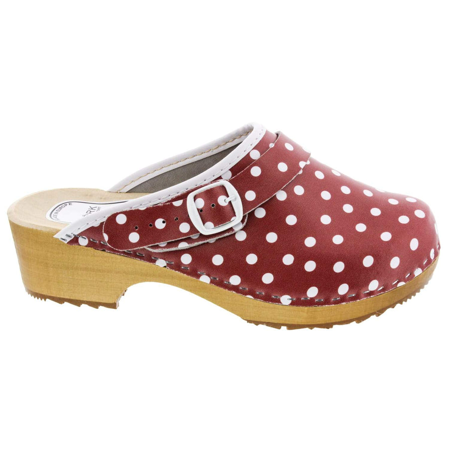 EBBA Wood Open Back Polka Dots Leather Clogs