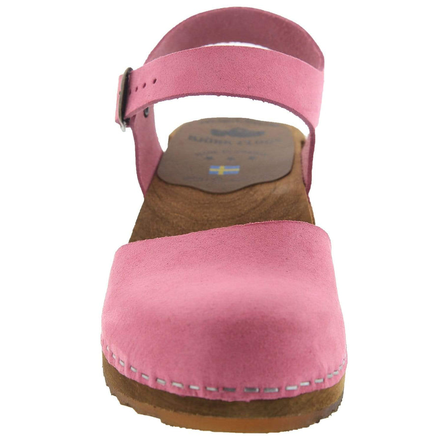 BJORK ALMA Swedish Wood Clog Sandals in Pink Nubuck