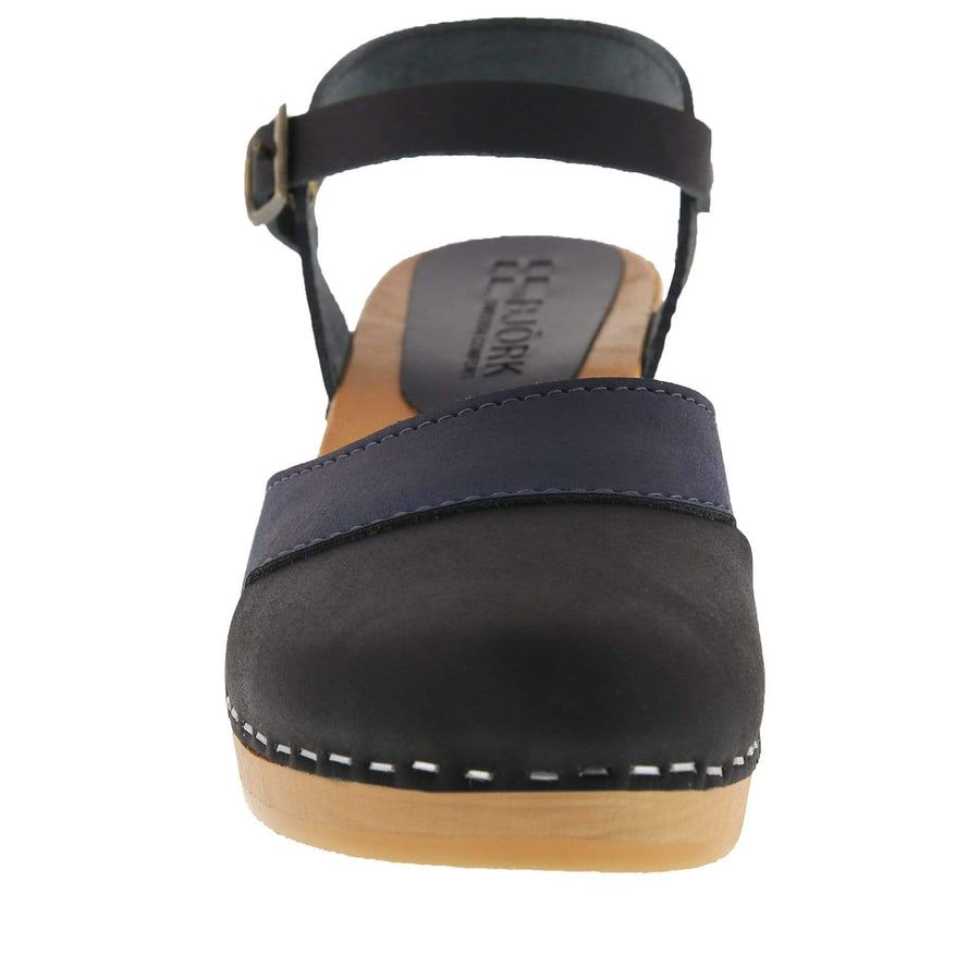 BJORK MILA Wooden Clog Sandals in Oiled Leather