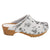 BJORK Shop BJORK Aldi Wood Open Back Flower Print Leather Clogs