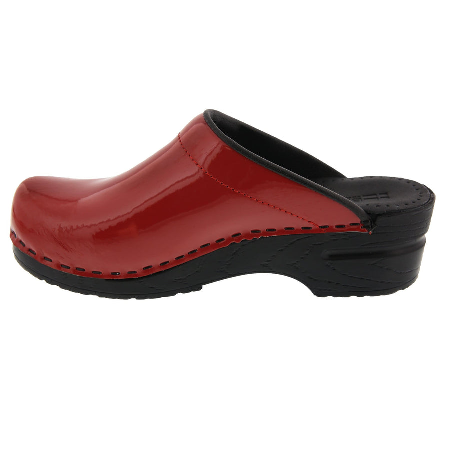 BJORK Shop BJORK Elly Open Back Red Patent Leather Clogs