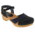 BJORK Shop Black/Navy / EU-36 BJORK MILA Wooden Clog Sandals in Oiled Leather