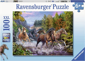 Ravensburger - Puzzle 100p Rushing River Horses
