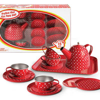 Kaper Kidz - Tin Tea Set Red Polkadot