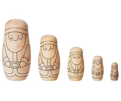 Wooden Santa Shaped Matryoshka