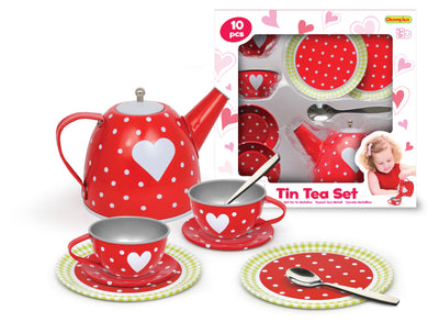 Champion - Tin Tea Set Red Heart 10p