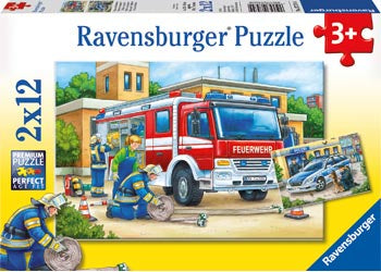 Ravensburger - Puzzle 2x12p Police & Firefighters
