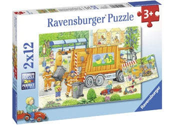 Ravensburger - Puzzle 2x12p Street Cleaning Underway
