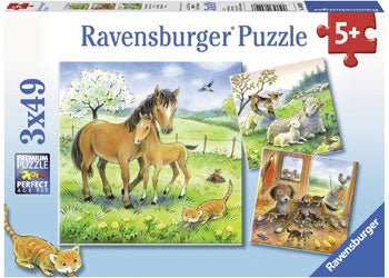 Ravensburger - Puzzle 3x49p Cuddle Time