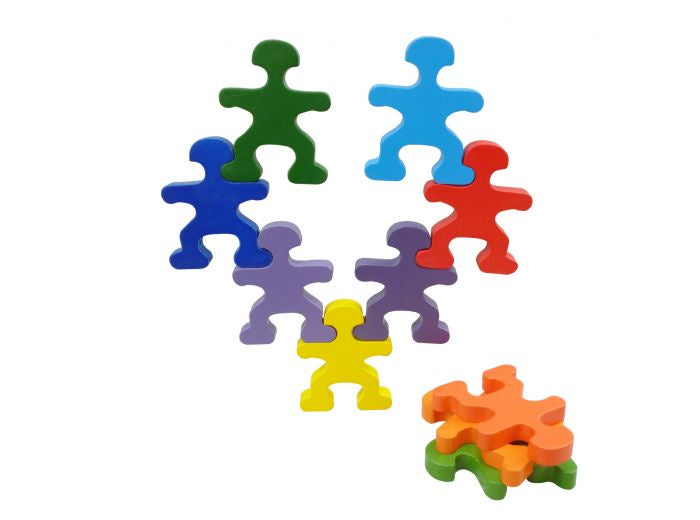 Qtoys - Wooden Balancing People Rainbow