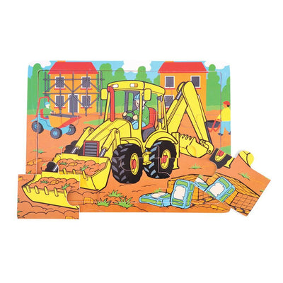 Bigjigs - Tray Puzzle Medium 9 piece Digger