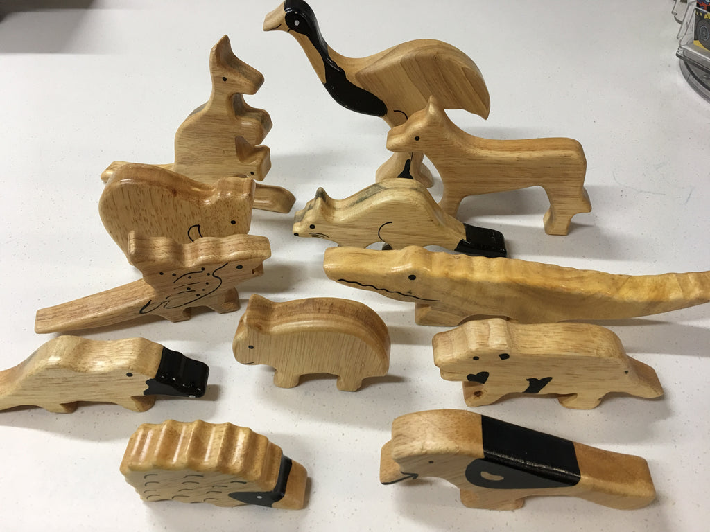 Sri Toys - Wooden Animals Natural Australian