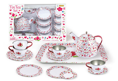 Champion - Tin Tea Set White Flower